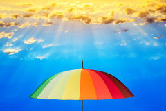 Rainbow umbrella against the sky Royalty Free Stock Images