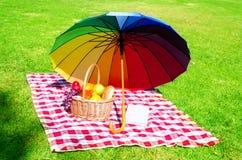 Rainbow umbrella, book and Picnic basket Royalty Free Stock Photos