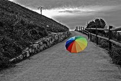Rainbow umbrella. Coloured unbrella in b&w background Royalty Free Stock Images