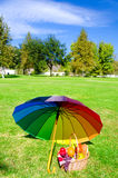 Rainbow umbrella and Picnic basket Royalty Free Stock Photo