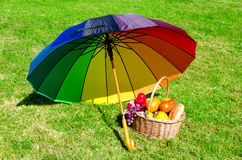 Rainbow umbrella and Picnic basket Royalty Free Stock Image