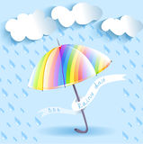 Rainbow umbrella and rain Royalty Free Stock Images