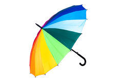 Rainbow umbrella on white background. Stock Photos