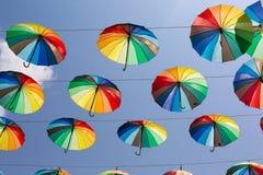 Rainbow umbrellas Stock Image