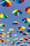 Rainbow umbrellas Stock Photo