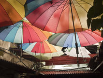 Rainbow umbrellas. In Penang street photograph Stock Photo