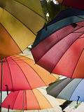 Rainbow umbrellas. Roof color photograph Stock Photos