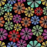 Rainbow uneven distributed abstract flower shapes, seamless patterns. On black background, sharp contrasting design for textile, fabric, vector EPS 10 Vector Illustration