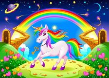 Rainbow unicorn in a fantasy landscape with golden stairs Stock Photography