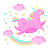 Rainbow And Unicorn Funny Girly Drawing Stock Image