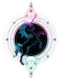 Rainbow unicorn over sacred geometry design elements. Alchemy, p. Hilosophy, spirituality symbols. Black, white vector illustration in vintage style isolated on stock illustration