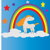 Rainbow Unicorn. Simple Design animal unicorn for drawing books, kids, t-shirt kids Royalty Free Stock Photos