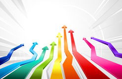 Rainbow upward arrows. Vector abstract 3d arrows pointing to the top Stock Photos