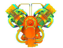 Rainbow V-twin engine Royalty Free Stock Photos