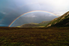 Rainbow V1. Colorful rainbow at the sky over a meadow royalty free stock images
