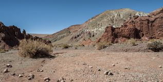 Rainbow Valley Valle Arcoiris, in the Atacama Desert in Chile. The mineral rich rocks of the Domeyko mountains give the valley t. He varied colors from red to royalty free stock images