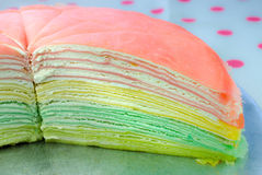 Rainbow vanilla crepe cake Royalty Free Stock Photos