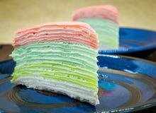 Rainbow vanilla crepe cake. Food image Royalty Free Stock Images