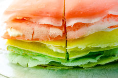 Rainbow vanilla crepe cake Royalty Free Stock Photography