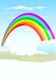 Rainbow vector. Rainbow on clouds illustration vector