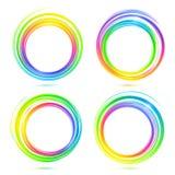Rainbow vector abstract circle frames set. Rainbow colors shining vector abstract circle frames set Stock Photos