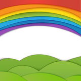 Rainbow vector background with green field. Paper. Realistic illustration Royalty Free Stock Photography