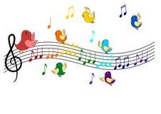 Birds singing Vector. Birds singing on rainbow colors Royalty Free Stock Photos
