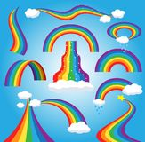 Rainbow vector colorful bowed arc in raining sky multicolored cartoon arch or bow spectrum of colors with rainy clouds. Illustration isolated on blue background Royalty Free Stock Photography