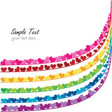 Rainbow vector valentine day card with hearts Stock Photos