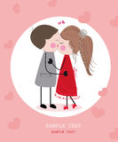 Rainbow vector valentine day card with hearts Stock Images