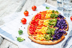 Rainbow vegan pizza stock photography