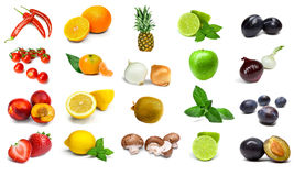 Rainbow vegetables and fruits isolated on a white background Stock Images