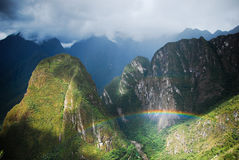 Rainbow view from Machu Picchu Stock Image