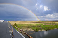 Rainbow, view from the roof of the building. Stock Image