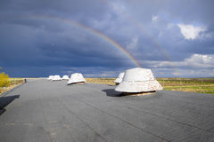 Rainbow, view from the roof of the building. Ventilation outlets Royalty Free Stock Photos