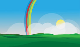 Rainbow Village. With clean design, easy to edit. EPS 10 stock illustration