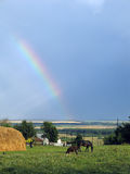The rainbow in village Freedom. Royalty Free Stock Images