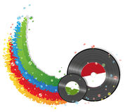 Rainbow and vinyl records Royalty Free Stock Photo