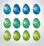 Rainbow vivid color Easter egg vector illustration set. Royalty Free Stock Images