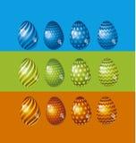 Rainbow vivid color Easter egg vector illustration set. Stock Photos
