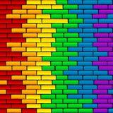 Rainbow wall. Rainbow background on a brick wall Stock Photography