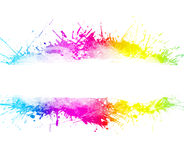 Rainbow washed watercolor splatter background. Rainbow splatter background with beautiful ink overlays and party concept. Empty stripe in the middle for custom royalty free illustration