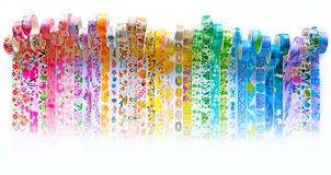 Rainbow Washi Tape Header. A beautiful rainbow of colorful washi tape, with rolls and tape showing, perfect for headers and more stock photography