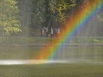 Rainbow on the water curtain Stock Photos