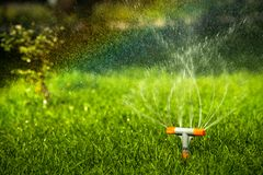 Rainbow water drops irrigation system summer day. Sun grass Stock Image