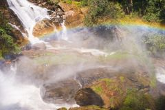 Rainbow in water fall Stock Photography