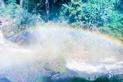 Rainbow in water fall Royalty Free Stock Photo