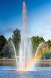 Rainbow on the water fountain Royalty Free Stock Photos