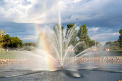 A Rainbow in a Water Fountain Stock Photography