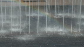 Rainbow in Water Jets stock footage